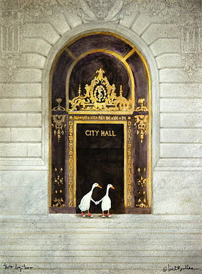 City Hall Painting - Two By Two... by Will Bullas