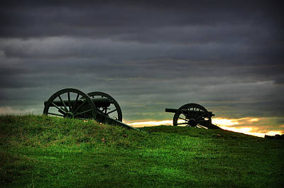 Two Cannons At Gettysburg Art Print by Bill Cannon