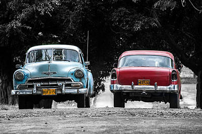 Two Cars Passing Art Print