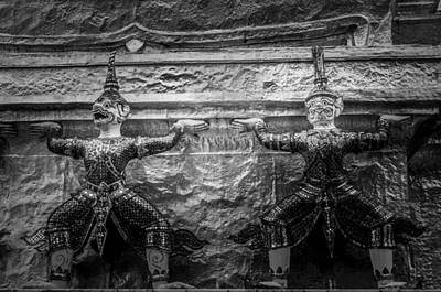 Valentines Day - Two Caryatids - Mystical Sculptures - at the Golden Chedi of the Temple of the Emerald Buddha by Colin Utz