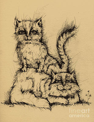 Pussy Drawing - Two Cats by Angel  Tarantella