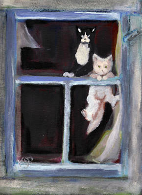 Two Cats Find An Old Window Sill Art Print by Kemberly Duckett
