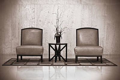 Empty Chairs Photograph - Two Chairs And A Table With A Plant  by Rudy Umans