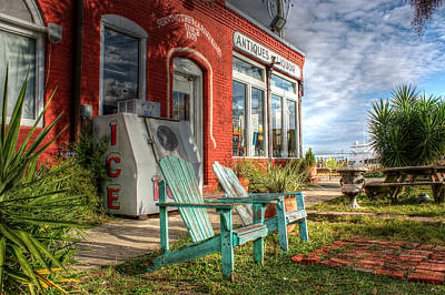 Two Chairs Around The Corner From The Old Stuff Shop Art Print by Lynn Jordan