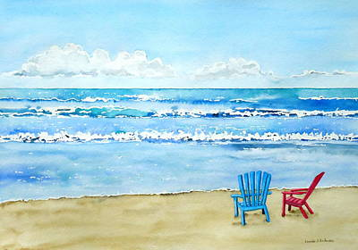 Painting - Two Chairs At The Beach by Laurie Anderson