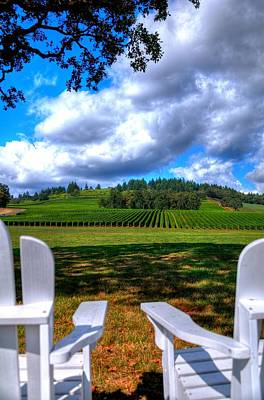 Photograph - Two Chairs In The Vineyard 19085 by Jerry Sodorff