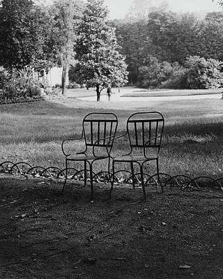 Photograph - Two Chairs Near The Champs Elysees by Erwin Blumenfeld