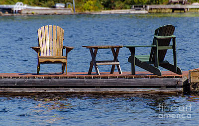 Photograph - Two Chairs On A Dock by Les Palenik