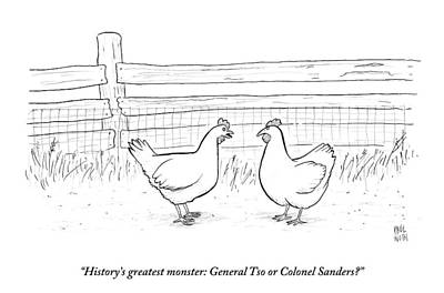 Fast Food Drawing - Two Chickens Discuss History by Paul Noth