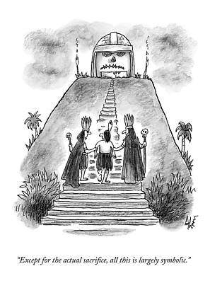 Religion Drawing - Two Chieftains Lead A Native Up The Stairs by Frank Cotham