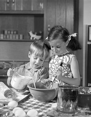 Checked Tablecloths Photograph - Two Children Baking, C.1960s by H. Armstrong Roberts/ClassicStock