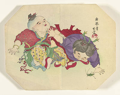 Grasshopper Drawing - Two Children Looking At Grasshopper, Kawanabe Kyôsai by Litz Collection