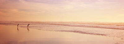 Two Children Playing On The Beach, San Art Print by Panoramic Images