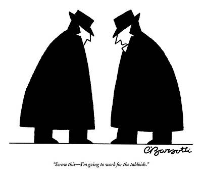 November 26th Drawing - Two Cia Agents Discuss Career Changes In Light by Charles Barsotti