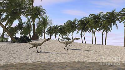 Coelophysis Digital Art - Two Coelophysis Running Towards Shore by Kostyantyn Ivanyshen
