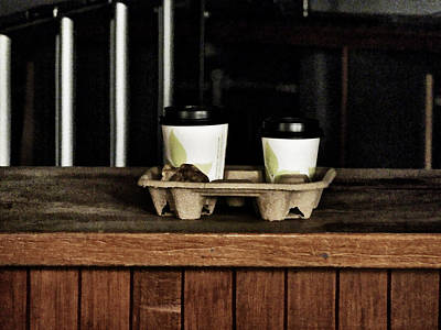 Two Coffees And A Muffin To Takeaway Art Print by Steve Taylor