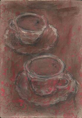 Painterly Drawing - Two Coffees by P J Lewis