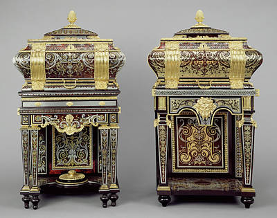 Ebony Painting - Two Coffers On Stands Attributed To André-charles Boulle by Litz Collection