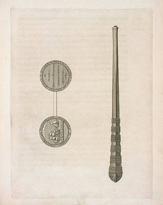 Two Coins And A Long Tapering Stick Print by British Library