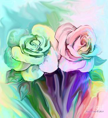 Painting - Two Colorful Roses by Annie Zeno
