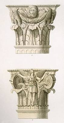 Roman Ancient Drawing - Two Column Capitals by English School