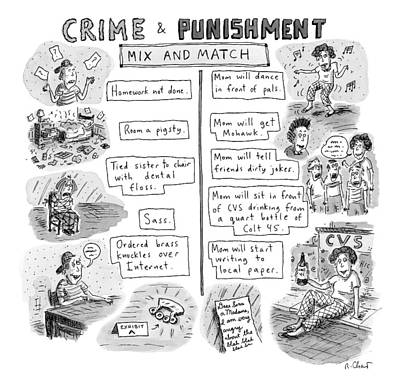 Punishment Drawing - Two Columns Contain Entries. The Left Column by Roz Chast