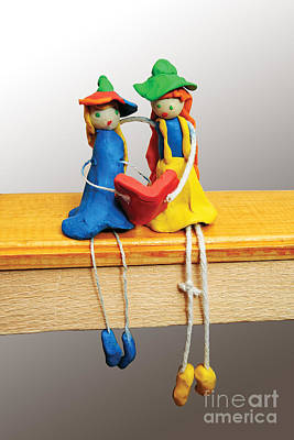 Plasticine Photograph - Two Comic Characters Made From Clay And String by Alexandr  Malyshev