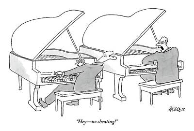 Two Concert Pianists Play Side-by-side Art Print