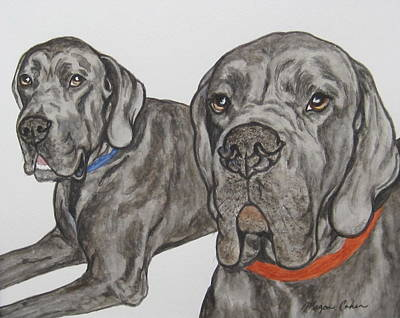 Watercolor Pet Portraits Painting - Two Cool Danes by Megan Cohen