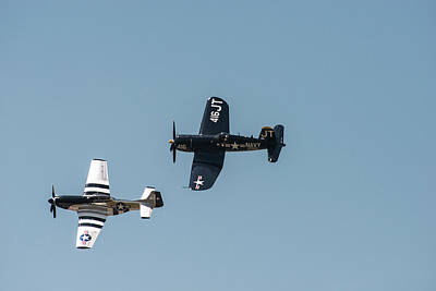 P-51 Mustang Photograph - Two Corsair Planes Flying (large Format by Sheila Haddad