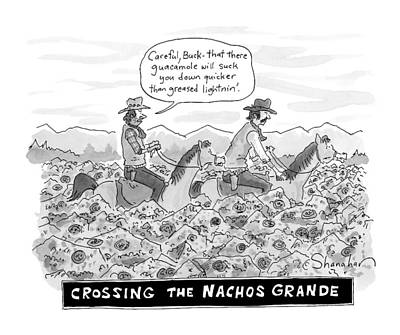 Grande Drawing - Two Cowboys On Horseback Trudge Through Chips by Danny Shanahan