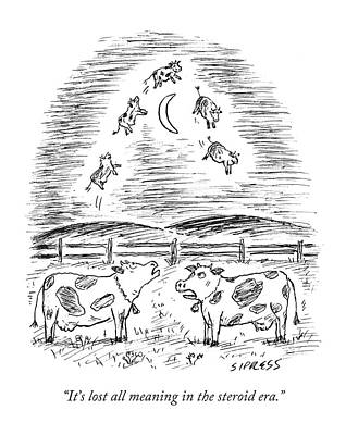 Jump Drawing - Two Cows Comment On A Bunch Of Cows by David Sipress