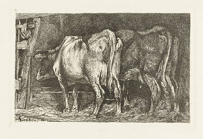 Manger Drawing - Two Cows In A Manger, Gerard Jan Bos by Quint Lox