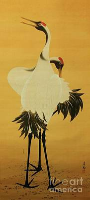 Japanese Silk Painting - Two Cranes Dancing by Pg Reproductions
