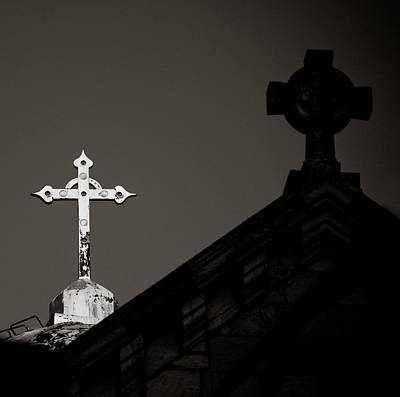 Photograph - Two Crosses In Jerusalem In Black And White by Anthony Doudt