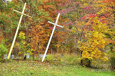 Allegheny Cemetery Photograph - Two Crosses by Thomas R Fletcher