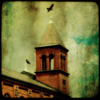 Rooftops Digital Art - Two Crosses Two Crows by Gothicrow Images