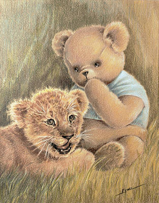 Drawing - Two Cubs by Ethel Quelland
