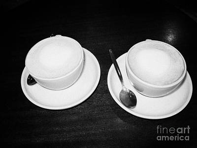 Two Cups Of Mocha Coffee On A Table In A Coffee Shop In The Uk United Kingdom Art Print by Joe Fox