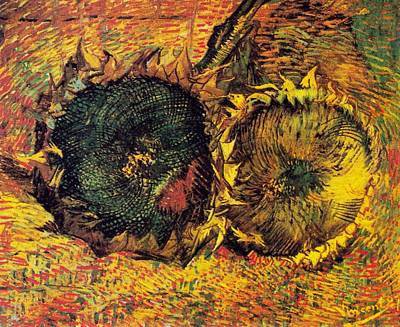 Digital Art - Two Cut Sunflowers by Vicent Van Gogh