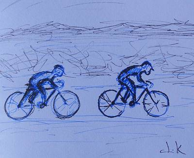 Together Drawing - Two Cycles by David Keenan