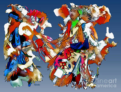 Powwow Photograph - Two Dancers At Powwow by Linda  Parker