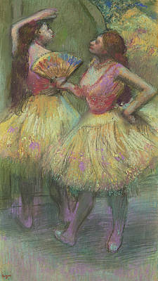 Two Dancers Before Going On Stage Art Print by Edgar Degas