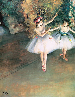 Two Dancers On A Stage Art Print by Edgar Degas