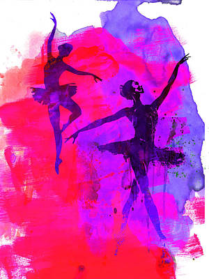 Girls Mixed Media - Two Dancing Ballerinas 3 by Naxart Studio