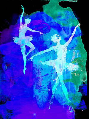 Romantic Art Mixed Media - Two Dancing Ballerinas  by Naxart Studio