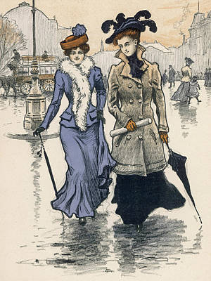 Boa Constrictor Drawing - Two Danish Ladies On A Wet  Street - by Mary Evans Picture Library