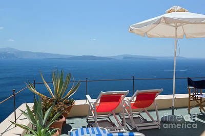 Relax Photograph - Two Deckchairs On The Roof Santorini Greece by Michal Bednarek