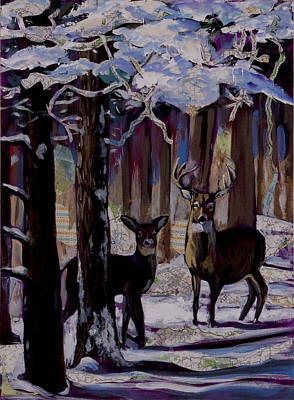 Print featuring the painting Two Deer In Snow In Woods by Tilly Strauss