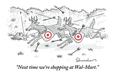 Shopping Bags Drawing - Two Deer With Red Target Shopping Bags Dodge by Danny Shanahan